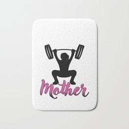 Weightlifter Trainers Barbells Bodybuilder Gym Life Like A Mother Barbell Fitness Gift Bath Mat