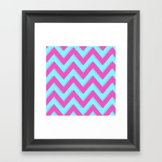 3D CHEVRON TEAL & PINK Framed Art Print