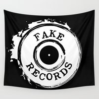 records Wall Tapestries featuring Fake Records by MADMEDIUM