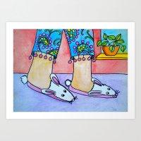 Funny Bunny Slippers Art Print