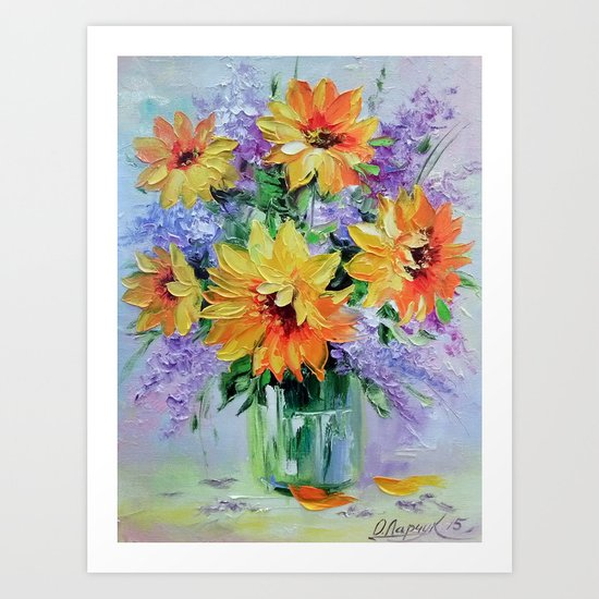 Bouquet of sunflowers Art Print