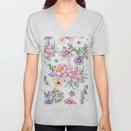 Pastel pink lavender green watercolor hand painted floral Unisex V-Neck