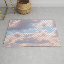 Light Gray Striped Clouds Rug