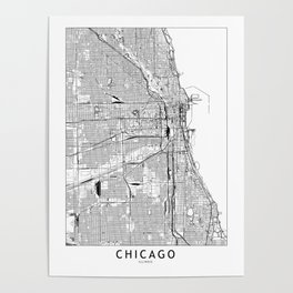 Chicago White Map Poster