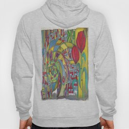 abstract red flower Hoody