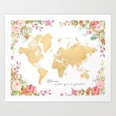 Floral watercolor world map in aquamarine blue art print by bloom where you are planted gold floral world map art print gumiabroncs Choice Image