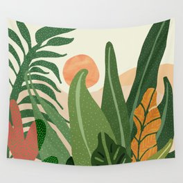 Desert Garden Sunset Wall Tapestry