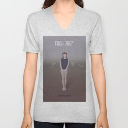 Red haired girl standing in a field  Unisex V-Neck