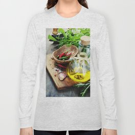 fresh  herbs  with  mezzaluna, olive oil and vegetables on cutting board Long Sleeve T-shirt