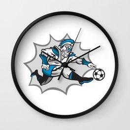 Roman Warrior Soccer Player Ball Retro Wall Clock