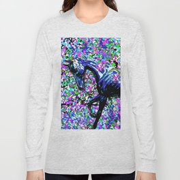 HORSE AND FLOWER PETALS OIL PAINTING Long Sleeve T-shirt