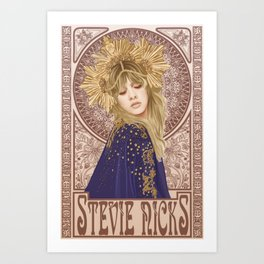 Stevie Nicks Mucha Art Print