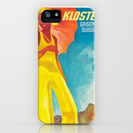 Klosters Style,Vintage Ski Travel Poster iPhone Case