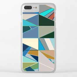 Mid-Century Modern Abstract, Turquoise and Neutrals Clear iPhone Case