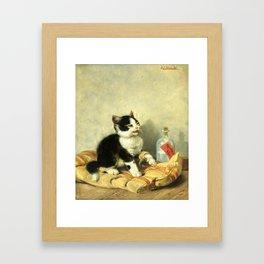 cute kitten 1- Julius Adam - the little patient -1885- pet,whikers,cat,kitty,kitten Framed Art Print