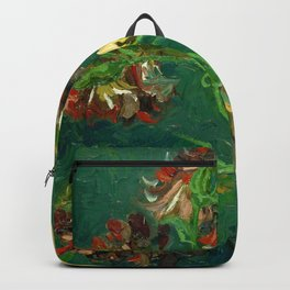 """Vincent Van Gogh """"Small Bottle with Peonies and Blue Delphiniums"""" Backpack"""