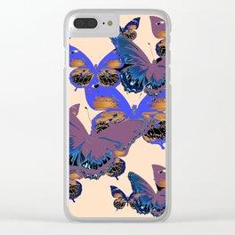 BLUE-PUCE PURPLE  BUTTERFLIES  CREAM COLOR ART Clear iPhone Case