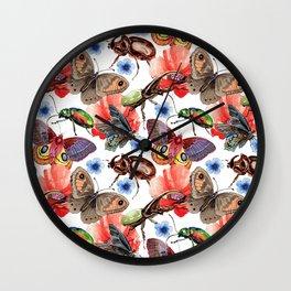 Beetles and Blooms Wall Clock