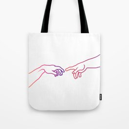 The Creation of Adam (Italian: Creazione di Adamo). Tote Bag