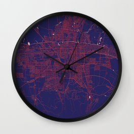 Bishkek, Kyrgyzstan, Blue, White, City, Map Wall Clock