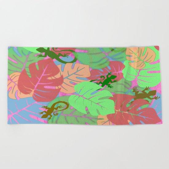 Monstera and Lizards (Retro Pink) Beach Towel