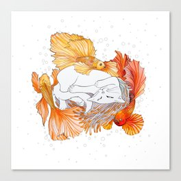 Cat and Golden Fishes Canvas Print