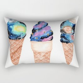 """Cosmic Cones"" watercolor galaxy illustration Rectangular Pillow"