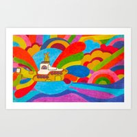 yellow submarine Art Prints featuring Yellow Submarine by Jaime Viens
