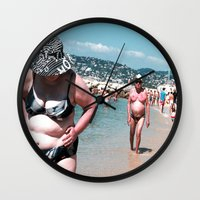 holiday Wall Clocks featuring Holiday by Wanker & Wanker