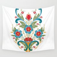 nordic Wall Tapestries featuring Nordic Rosemaling by Helen Borrowman Davison