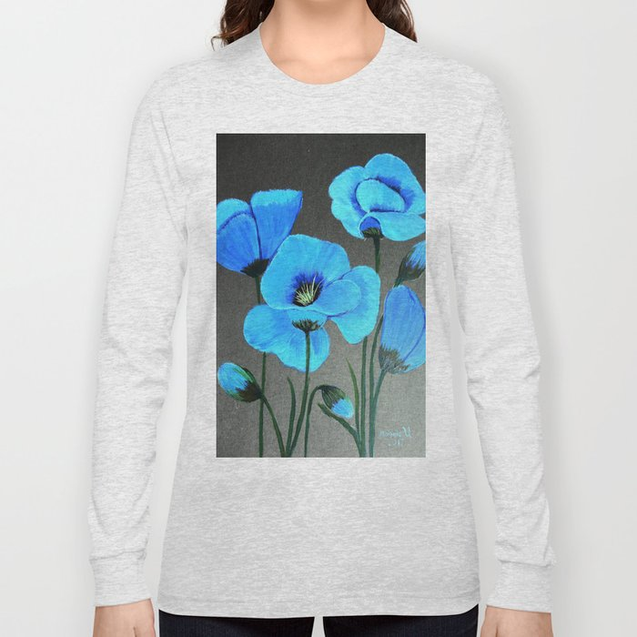 Blue poppies  Long Sleeve T-shirt