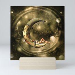 Steampunk lady  in the night Mini Art Print