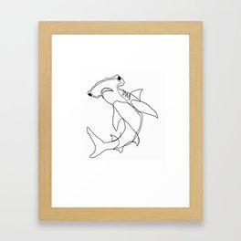 Hammerhead Shark (white) Framed Art Print