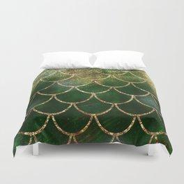 Green & Gold Mermaid Scales Duvet Cover