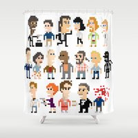 pulp fiction Shower Curtains featuring Pulp Fiction Iotacons by Andy Rash