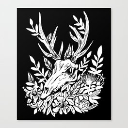 Animal Skull Deer Foliage Memento Mori Goth Witchy Canvas Print