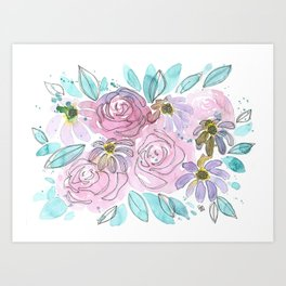 Roses and Daisies Art Print