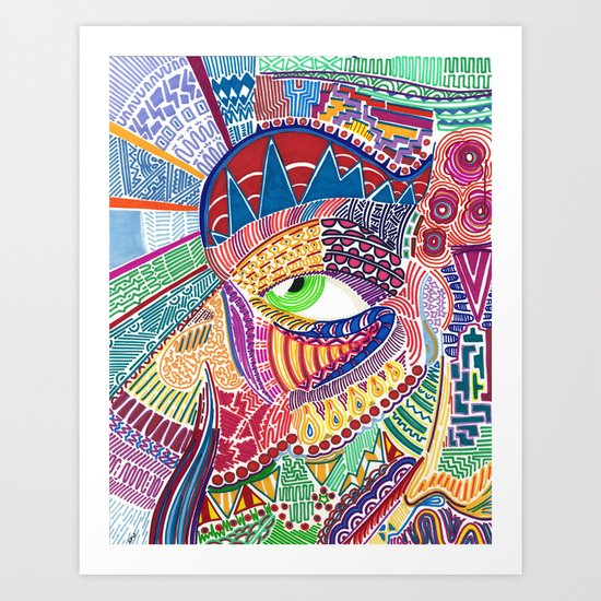 Faced Art Print