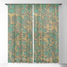 Dark Spring Green Gold Marble Sheer Curtain
