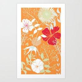 Flowers on Orange Background Art Print