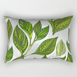 Seamless Pattern with Green Tea Leaves Rectangular Pillow