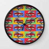 mini cooper Wall Clocks featuring mini cooper by Pedro Vale