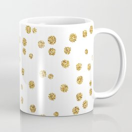 Gold glitter confetti on white - Metal gold dots Coffee Mug