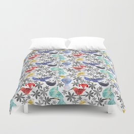 Rainforest Birds in Watercolor Duvet Cover