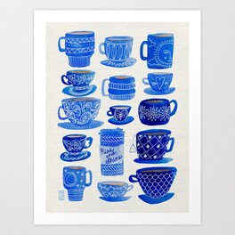Blue Teacups and Mugs Art Print