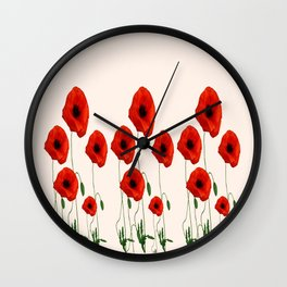 GRAPHIC RED POPPY FLOWERS GARDEN ON WHITE COLOR Wall Clock