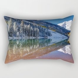 Fall Season at Maroon Bells Panoramic Image Rectangular Pillow