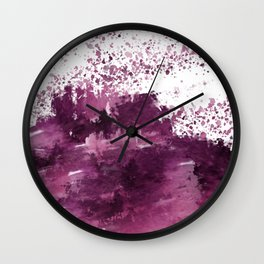 Burgundy Purple and White Watercolor  Wall Clock