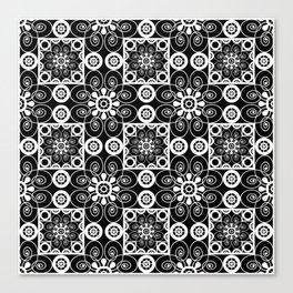 Retro .Vintage . Black and white openwork ornament . Canvas Print