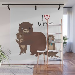 I Love You Mom. Funny brown kids otters with fish on white background. Gift card for Mothers Day. Wall Mural